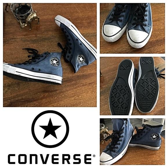 3b37bb6bc227 Converse Shoes - EUC Converse Zippered Light Navy Blue Hi Tops